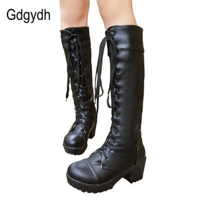 Women Winter Lace Up Knee High Boots Large Size