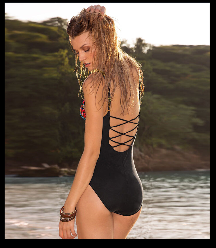 OnePiece Women Swimsuit with Black Background & Small Flowers