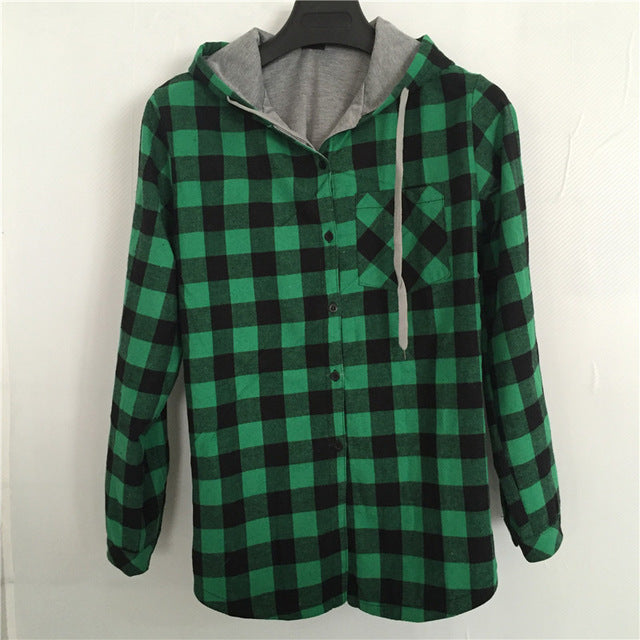 Women Casual Long Sleeve Plaid button Oversize Hoodies