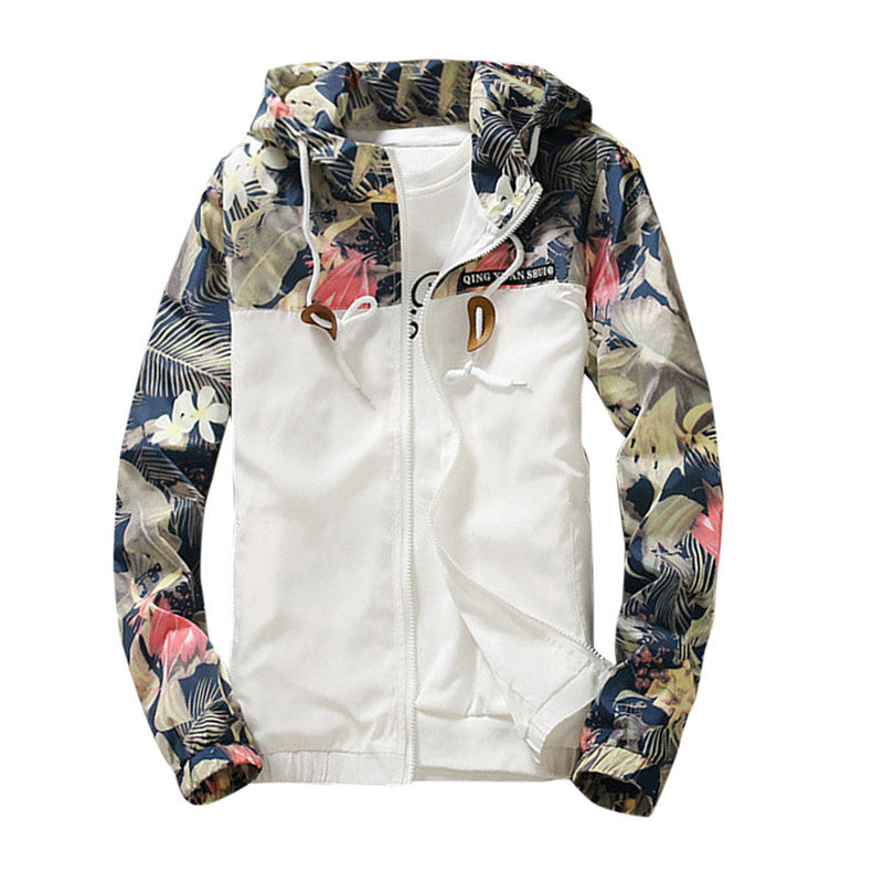 Floral & White Women Winter Warm Bomber Hooded Jacket