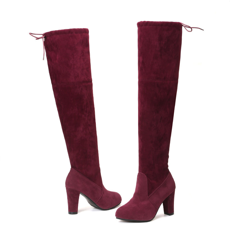 Women Plus Size Faux Suede Winter Thigh High Boots