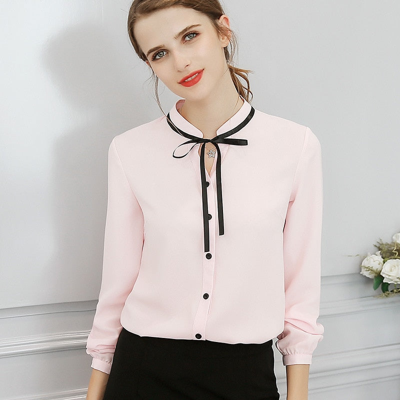 New Spring Autumn Tops Office Ladies Blouse Long Sleeve Little Bow Slim White