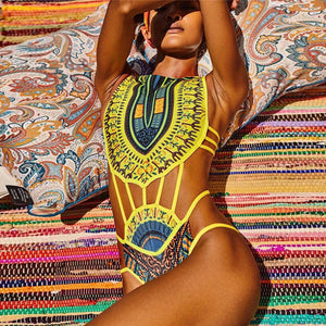 Women African Print Bikini Set Swimwear Push-Up Padded Bra Swimsuit Beachwear