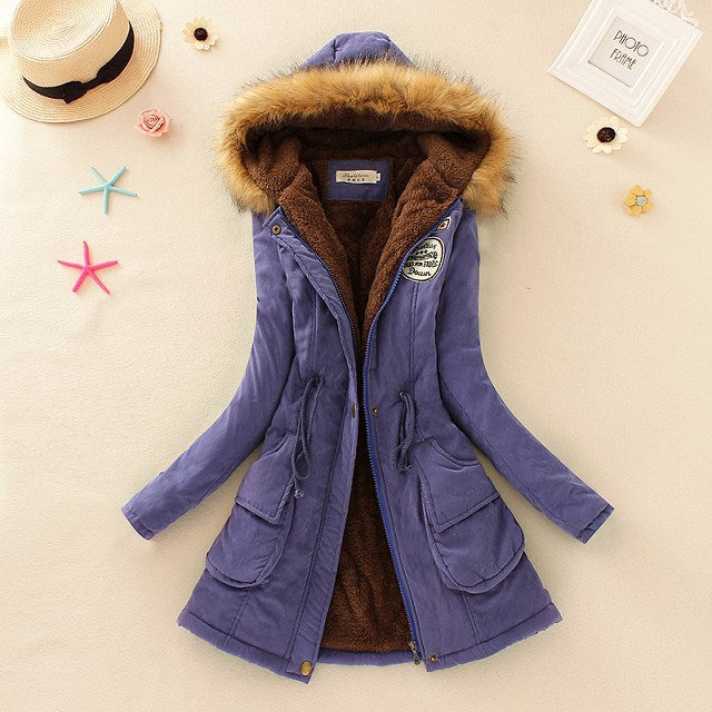Women Cotton Artificial Lamb Down Winter Coat