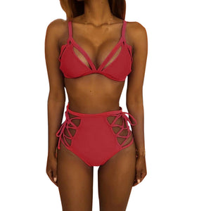 Women High Waist Bandage Bikini Set Push-up Padded Bra Swimsuit Bathing Swimwear