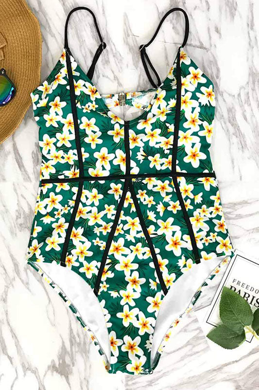 Women OnePiece Swimsuit Padded Swimwear Floral Pattern