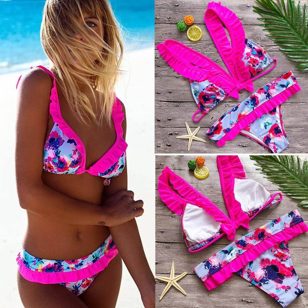 Womens Sexy Swimwear Push Up Print Bow Bikini Set Bain Femme Beachwear Swimsuit