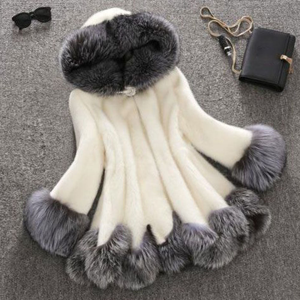 Faux Rabbit Fur Women Silver Hooded Coat