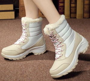 Women winter non-slip waterproof ankle snow boots with thick fur botas mujer