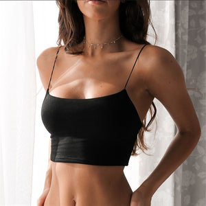 Summer Sexy Female Crop Tops 95% Cotton Sleeveless Straps