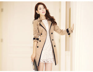 2018 Women Autumn Belt Double Breasted Long Office Lady Trench Coat