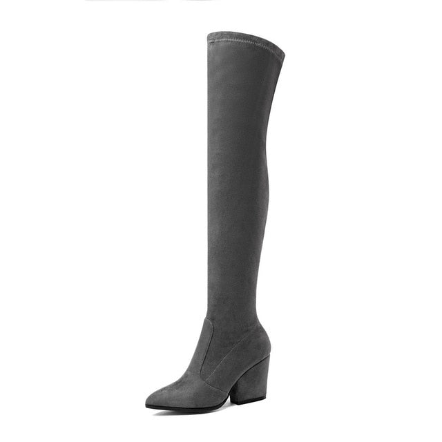 Women Heels Winter Pointed Toe Elastic Fabric Over thigh Boots Hoof Size 34-43