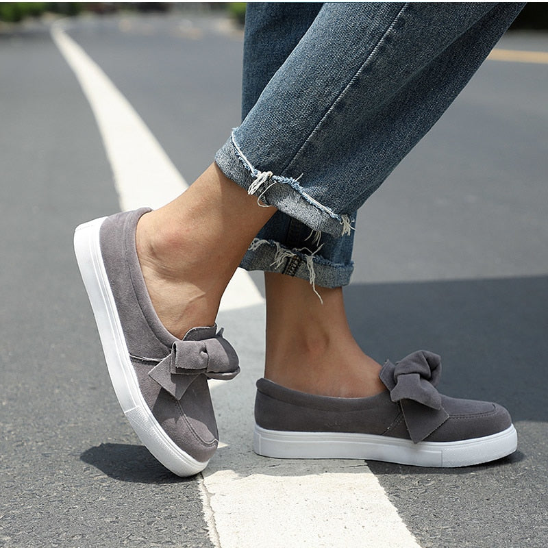 Women Plus Size Platform Slip On Bowtie Flat Shoes Sewing Casual