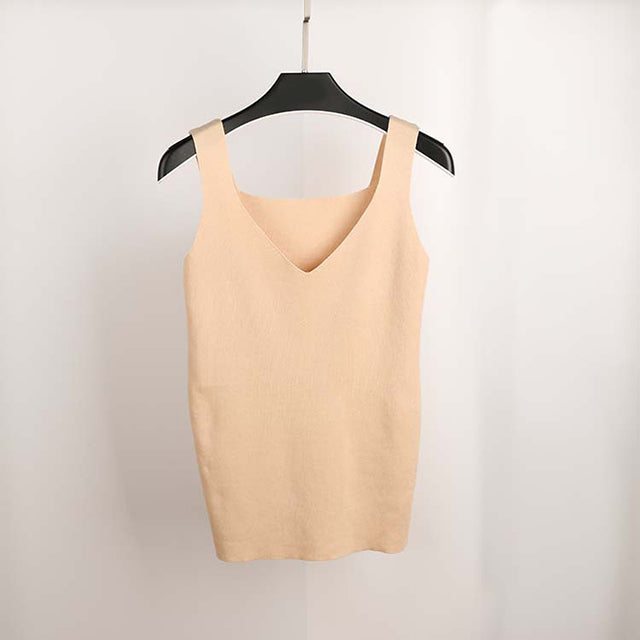 2018 Sexy Crop Top Knitted Sleeveless V Neck