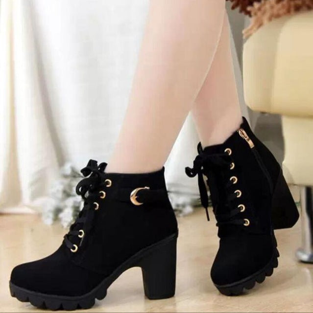 Women Winter high heels Boots with Solid Lace-up PU