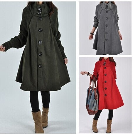 2018 Long Loose Wool Female Jacket Overcoat Cloak Windbreaker Hiver Cape