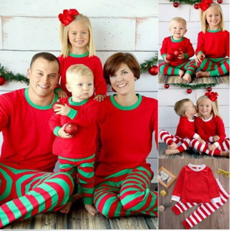 Family Christmas Matching Pajamas Set with Striped pattern