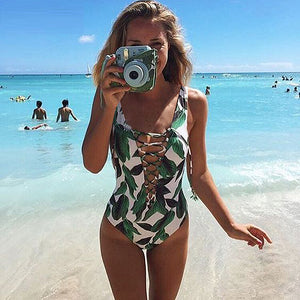 Sexy Tropical Swimwear Women One Piece Swimsuit