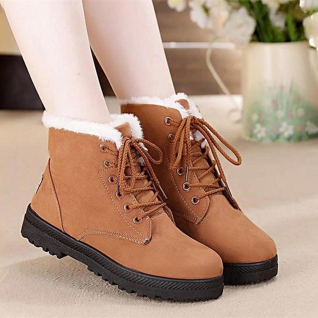 Classic heels suede women winter plush Insole ankle lace-up shoes boots