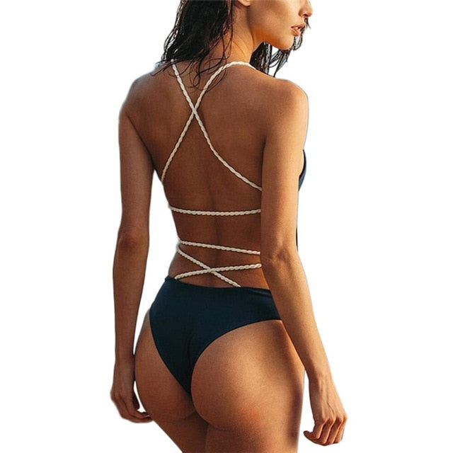 Women Sexy Backless Halter Neck Bandage Solid Color Onepiece Swimsuit
