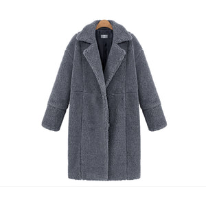 Winter Women Turn-down Collar Long Sleeve Covered Button Coat