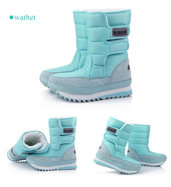 Female Winter Flat & Waterproof Snow Boots Black White plus size