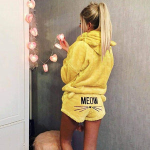 Women Coral Velvet Suit Two Piece Autumn Winter Cat Meow Pattern Hoodies