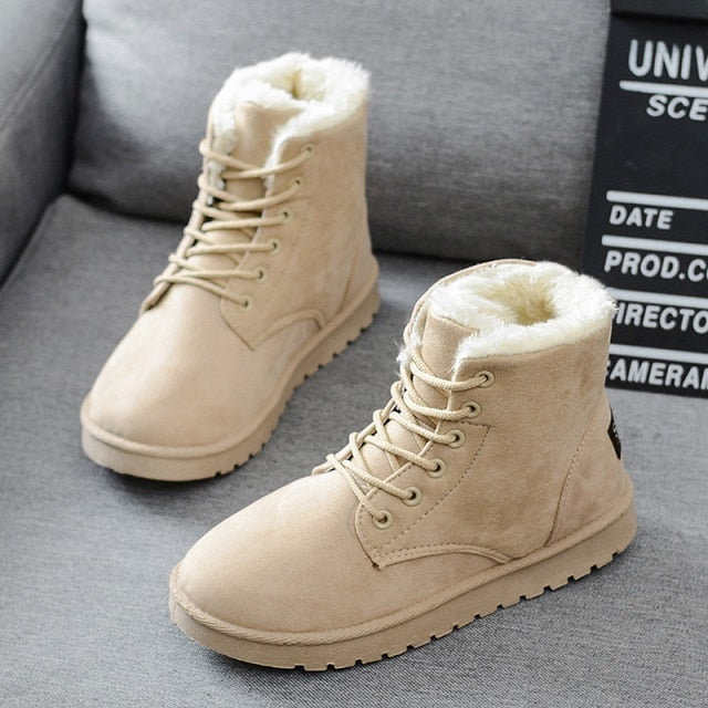 Women Winter Warm Faux Suede Ankle Botas Mujer Plush Insole Snow Boots