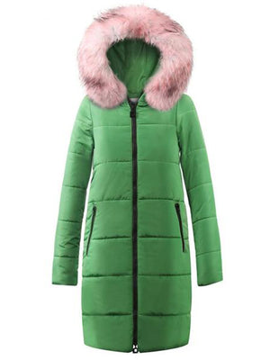 Thickened women stitching slim long winter parka coat down cotton