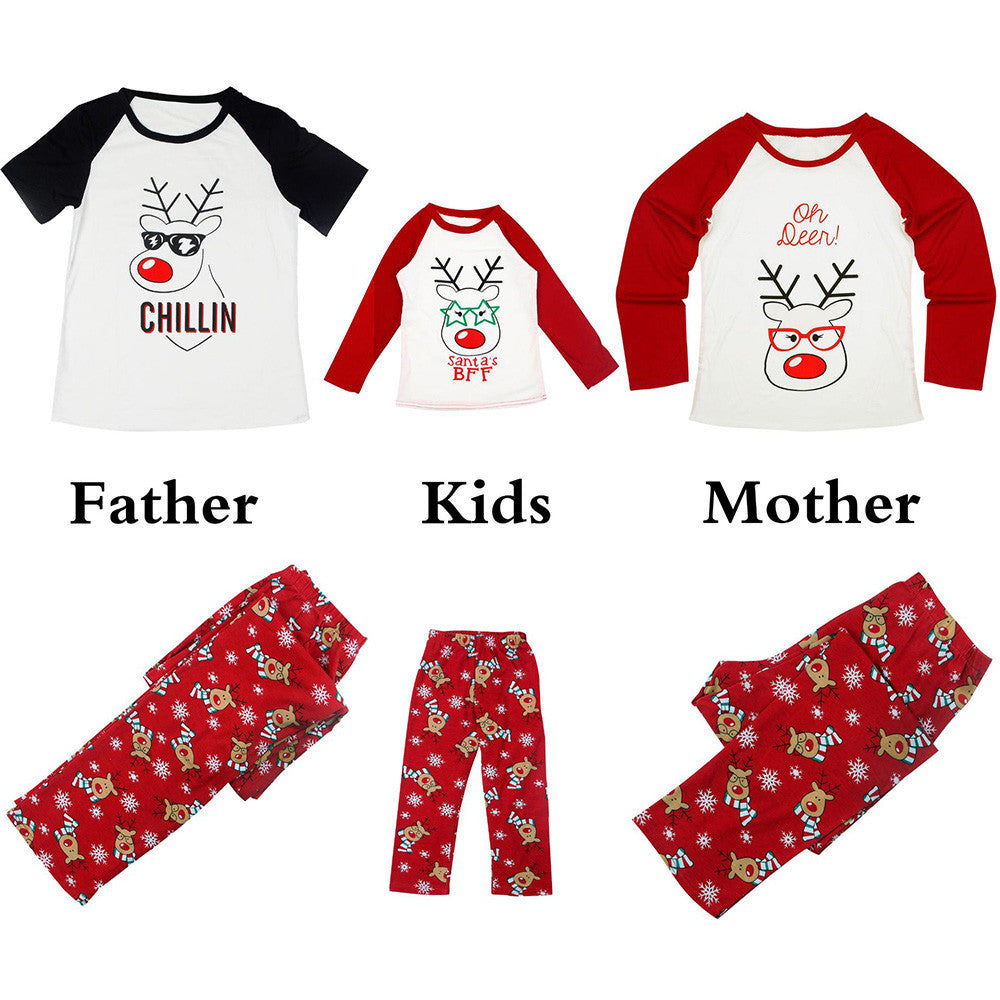 Family Matching Pajamas Set Women Deer T shirt Tops Blouse Pants Clothes
