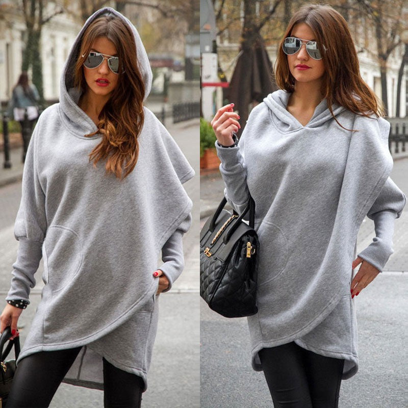 Women Solid Color Long Sleeve Asymmetric Hem Pullover Hoodie Sweatshirt Coat