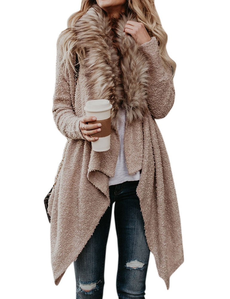 Women Fur Collar Asymmetric Splice Design Casual Fashion Coat