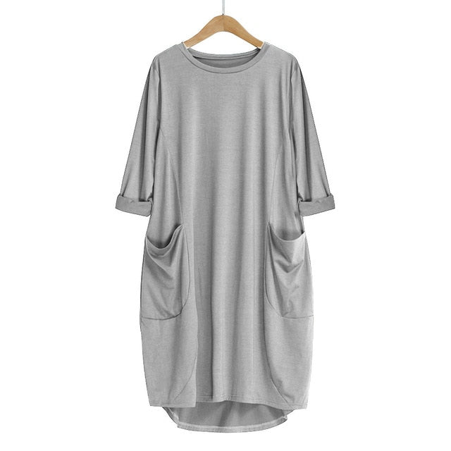 Womens Loose Dress with Pocket Crew Neck Casual Long