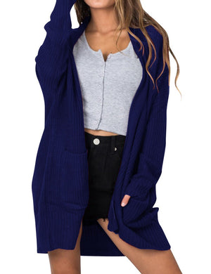 Women Knitted Long Sleeve Solid Color Open Front Cardigan Coat with Pocket