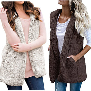 Women Fleece Sleeveless Open Front Hooded Vest Cardigan Coat with Pocket