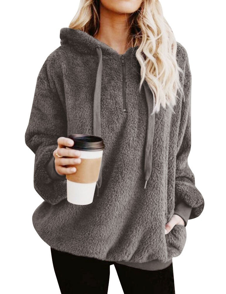 Women Winter Pullover Long Sleeve Zip Front Fuzzy Warm Fleece Hoodies