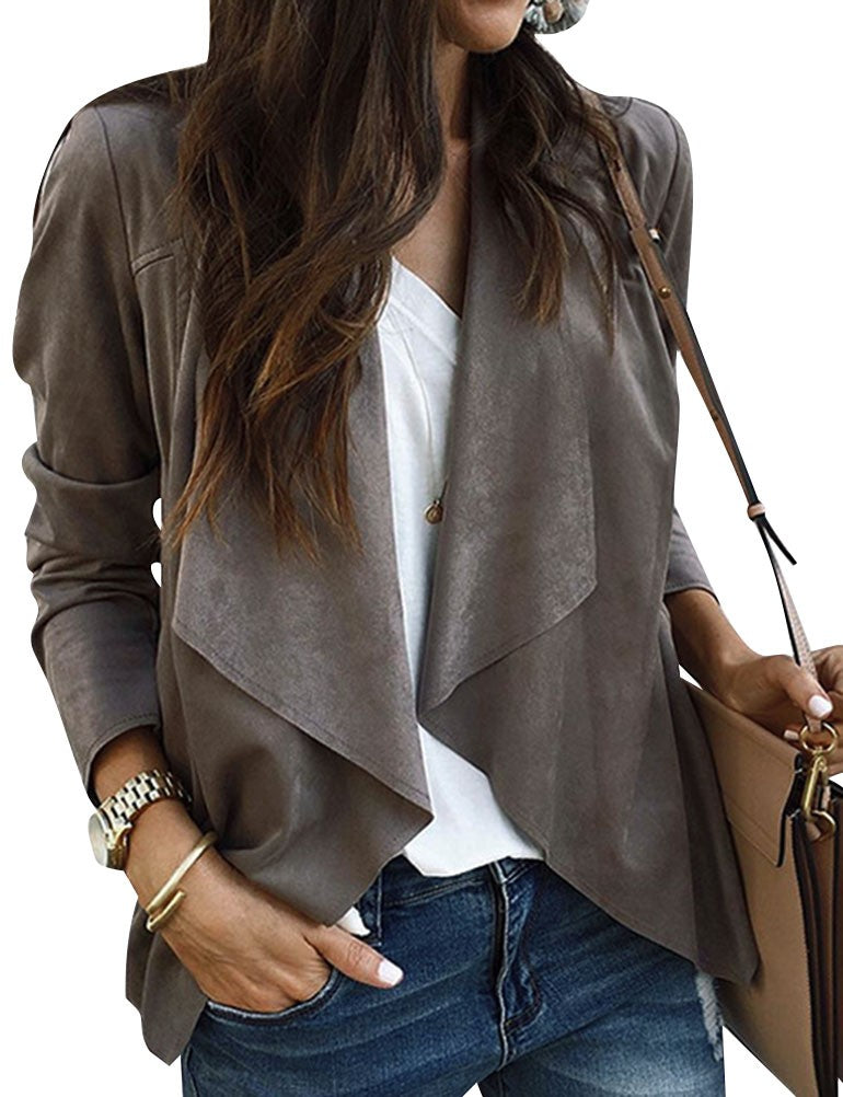 Women Casual Waterfall Neck Long Sleeve Blazer Cardigan Solid Color Open Front Blazer Cropped Coat