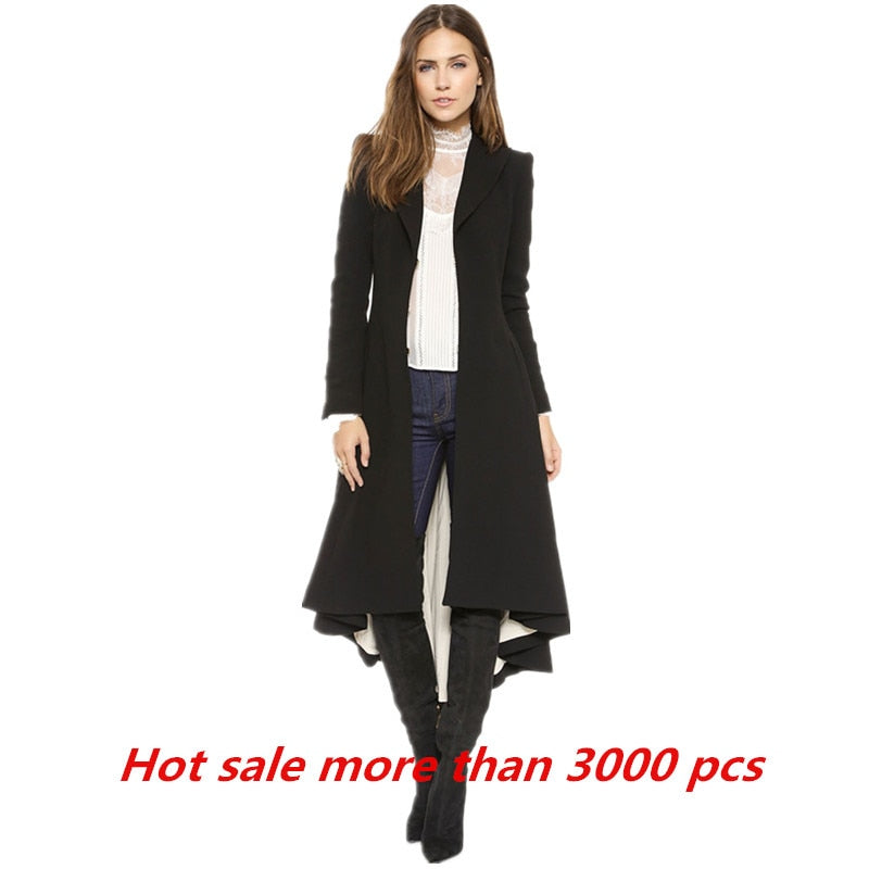 Swallowtail Winter Women Wool Long Black Trench Dress Coats Slim Blazer Dress 4XL-5XL Plus Size