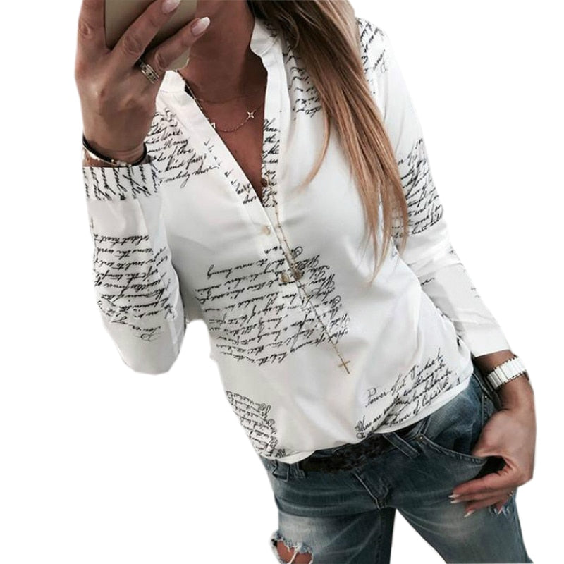 Women Blouse with Letters Printed Buttons V-neck Sexy Tops