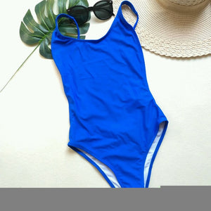 Women OnePiece Solid Bathing Suit Summer Beach Backless Thong Bikini
