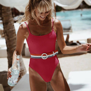 Summer Women's One-Piece Swimsuits Pure Color Belt Back