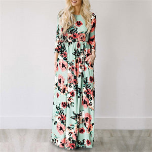 2019 Summer Long Floral Print Dress Boho Beach Dress Maxi Dress