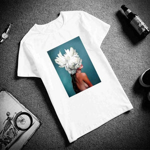 Cotton Women Tshirt Sexy Flowers Feather Print Short Sleeve
