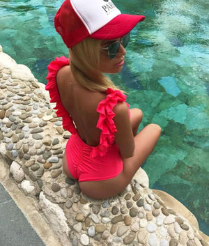 Tight Fitting Onepiece Swimsuit Solid Color Ruffled swimwear