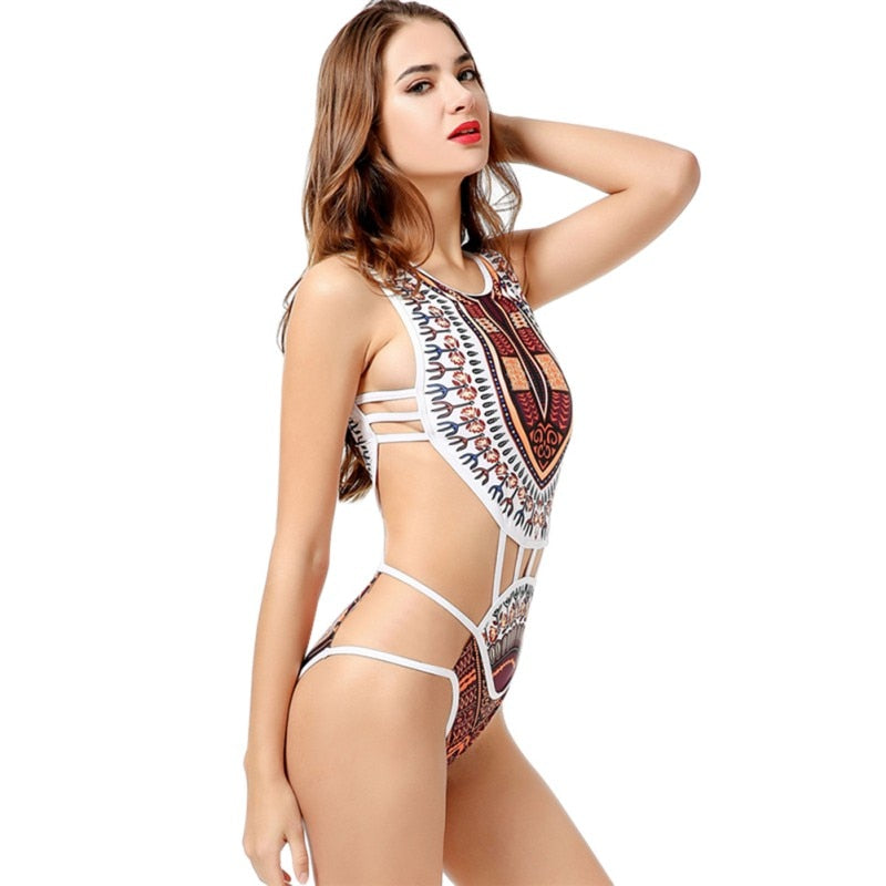 Women's Sexy Bikini Set Europe and America Print OnePiece Swimsuit