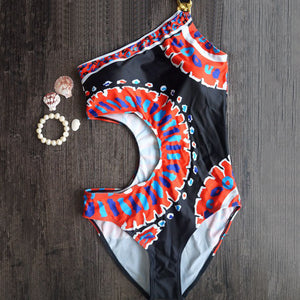 Sexy off Women Shoulder African Style Swimwear Vintage