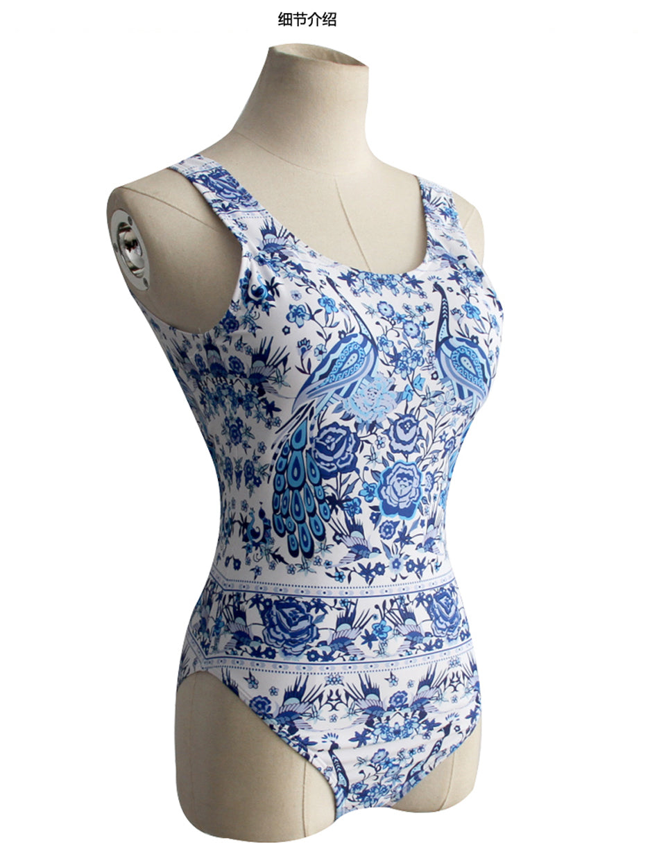 Halter Printed Swimwear Women One Piece Blue Flower Background