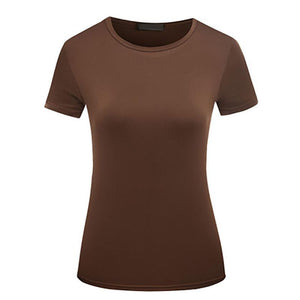 Simple Women White/Brown Summer t shirts O-Neck Pure Color