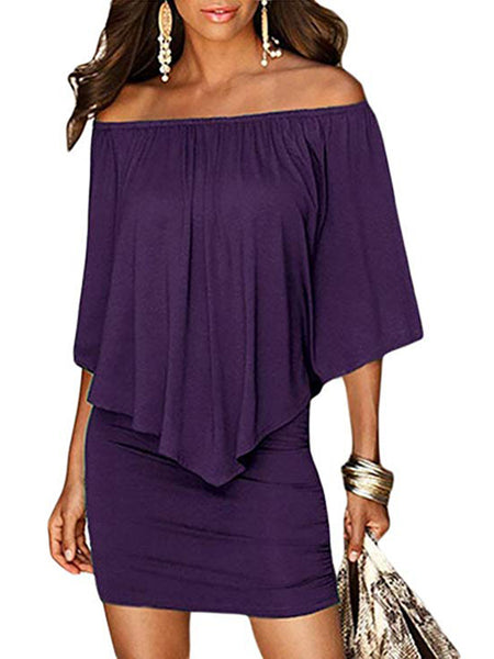 Sexy Women Off Shoulder Ruffles Bodycon Mini Dress