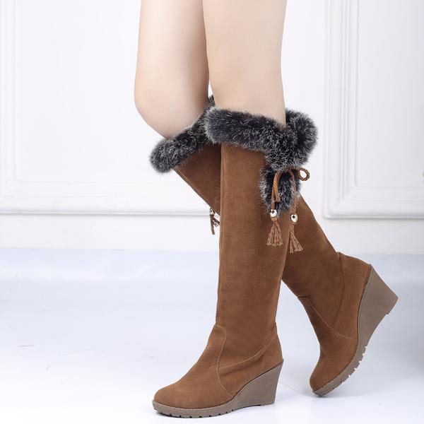 Suede Faux Fur Knee High Wedge Snow Boots